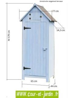 Dimensions de l'armoire jardin, bleue - armoire bois