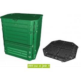 Composteur Thermo-King 900L vert avec grille de fond