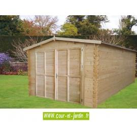 Garage bois en kit : Royal, livré non peint - abri garage voiture