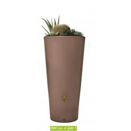 Récupérateur d'eau de pluie pas cher Vaso 2 en 1 de 220 L coloris taupe. Ce récupérateur eau de pluie a aussi un bac à plantes.