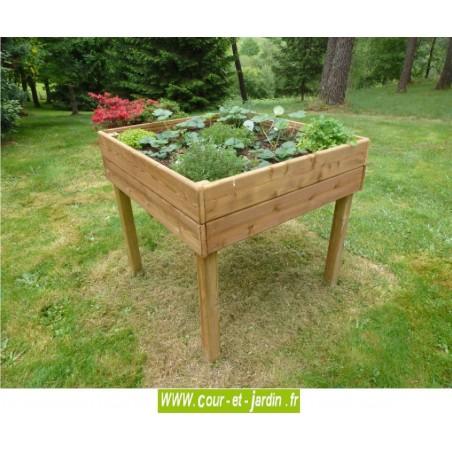 Jardini re sur lev e pmr en bois jardini res handicap carr potager for Jardiniere en bois pour potager
