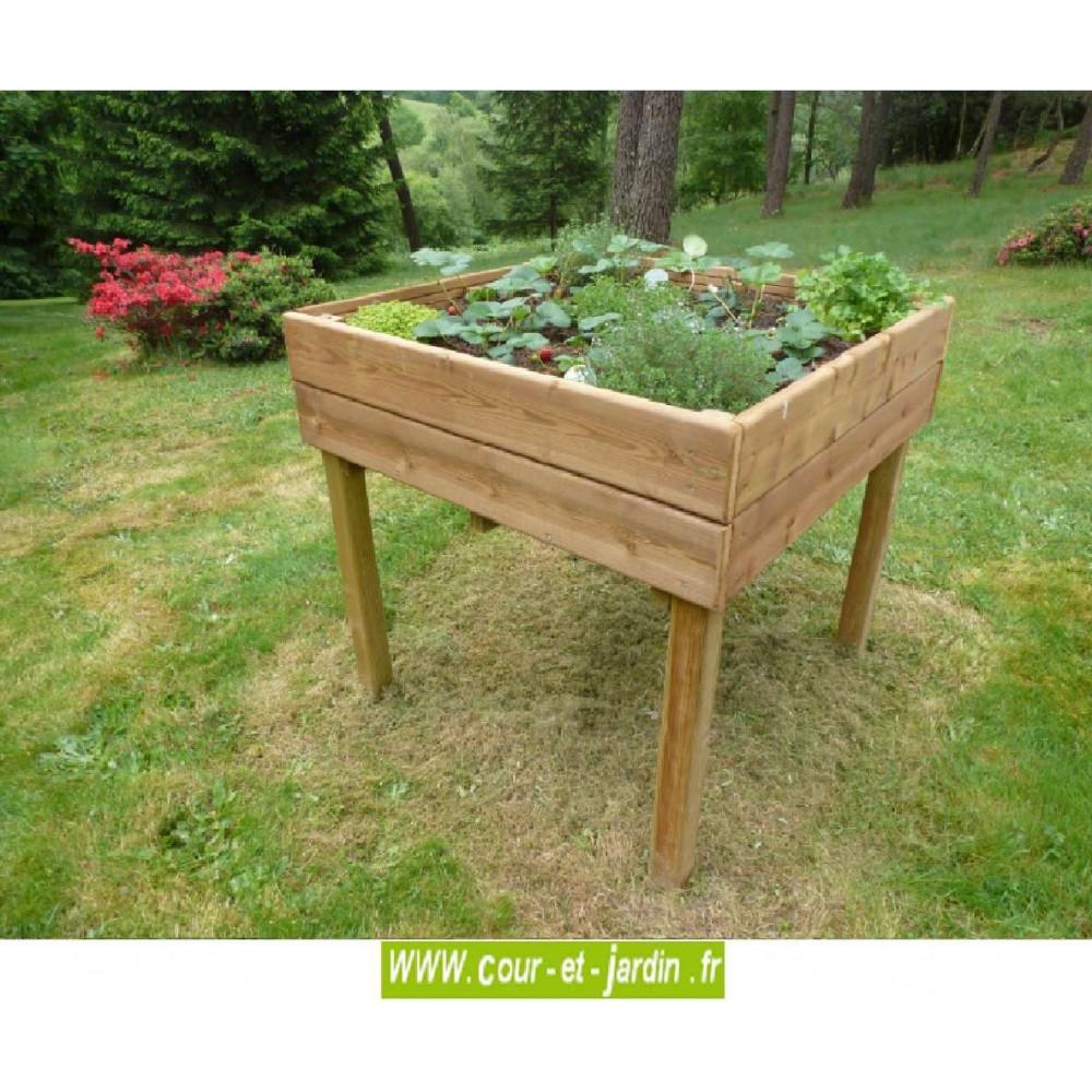 Potager Mobile En Bois table potagère 100 x 100 cm. carré sur pied - carre potager