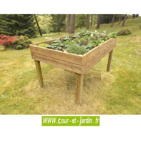 Jardini re bois sur pieds table potagere carr potager for Cihb