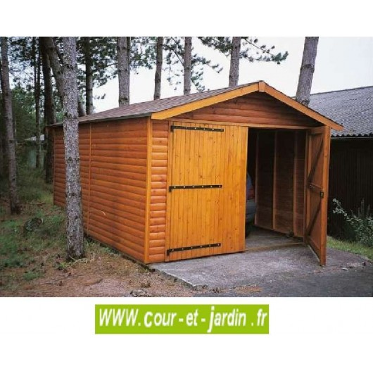 garage voiture en bois en kit et pas cher de 15m. Black Bedroom Furniture Sets. Home Design Ideas