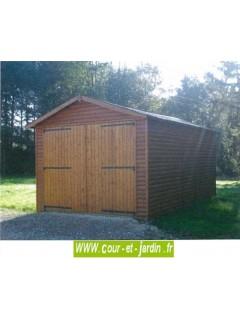 Garage en bois en kit de 18m², Série 2000 des garages en bois, de Cihb  - hauteur 2m40  - garage à voiture