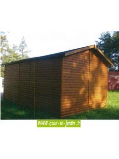 Vue arrière du garage demontable de18m², de la série 2000 des garages bois Cihb