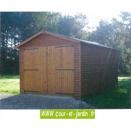 Garage abri voiture en bois non traité, livré non peint, de 15m2 -  série 3003 -
