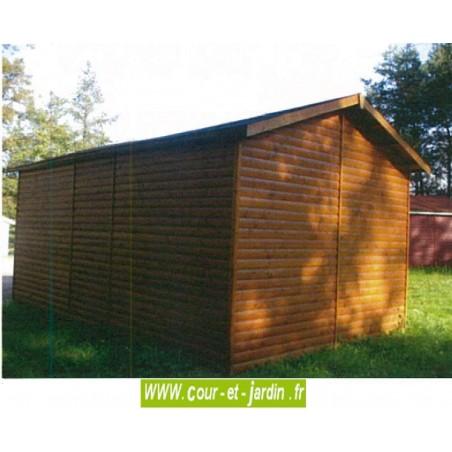 Garage en bois de 18m²  (série 3003 des garages en bois de Cihb)  -  abri pour voiture