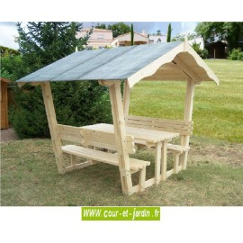 """Table pique-nique bois avec bancs et tonnelle """"Nice""""  -   Table de jardin"""