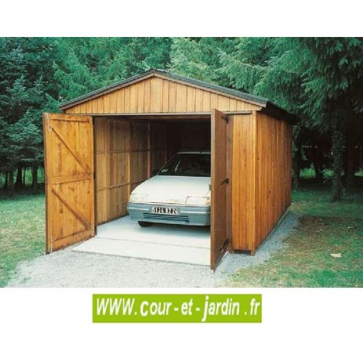 garage bois 12m abri garage voiture en kit pas cher. Black Bedroom Furniture Sets. Home Design Ideas
