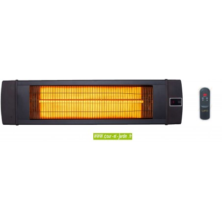 Chauffage d'appoint infrarouge Ufo Black line noir 3000w, IP55, à télécommande