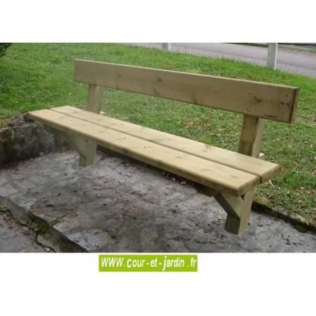 Banc de jardin en bois Périgord à sceller dans le béton - banc avec dossier