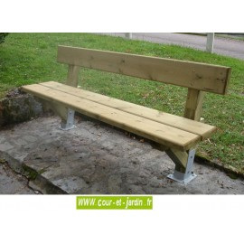 Banc jardin: Périgord, en bois, avec platines  -  Banc de jardin en bois