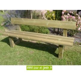 Banc avec dossier : Classique, en bois traité (long : 2m) - Banc de jardin en bois