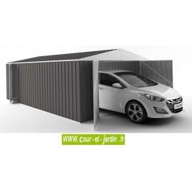 Garage métallique gris 18m² (6mx3m) + porte latérale