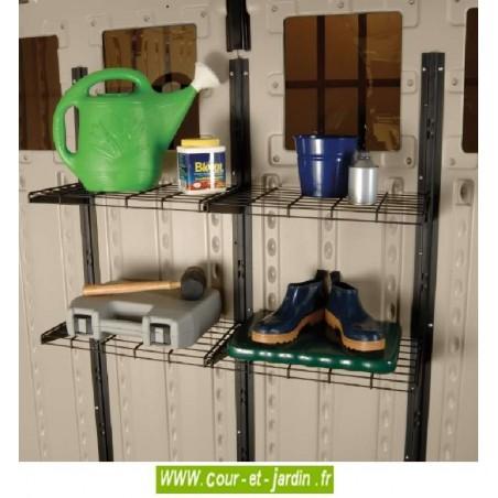 Jeu d'étagères de l'abri resine  Suncast Woodgrain 8160 .  Abri de jardin pas cher