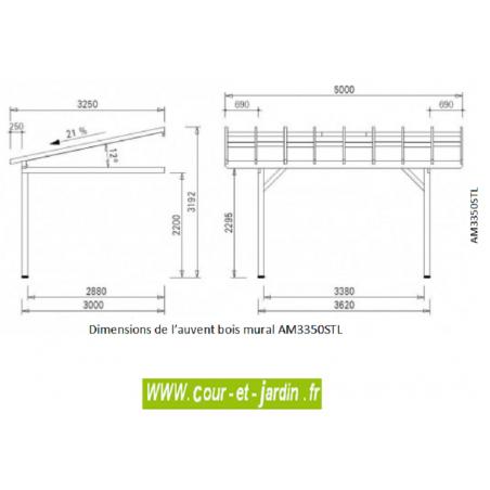 auvent bois mural de terrasse ou abri voiture carport une voiture. Black Bedroom Furniture Sets. Home Design Ideas