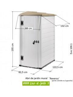 Dimensions des abris de jardin en resine Evo 100.1 Reverso. Abris de jardin en PVC