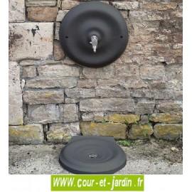 """Mascaron et vasque de fontaine murale exterieure """"Quino"""" (grand modèle) - coloris gris 7016 .  fontaine jardin"""