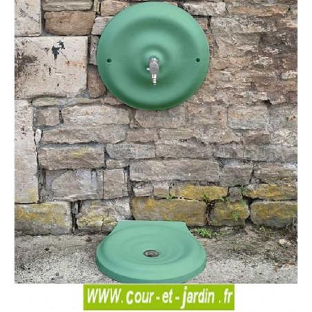 """Mascaron et vasque de fontaine extérieure """"Quino"""" avec robinet de jardin - (grand modèle) - coloris vert 2300 . Fontaine jardin"""