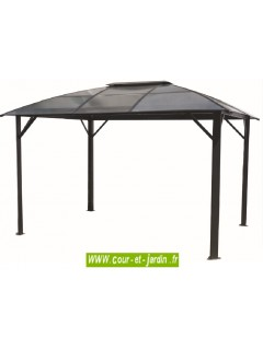 Ces pergolas de jardins ou tonnelles de jardin, ont le toit légèrement arrondi  -  Pergola carport