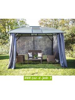 Tonnelle de jardin avec rideaux  -  Gloriette aluminium