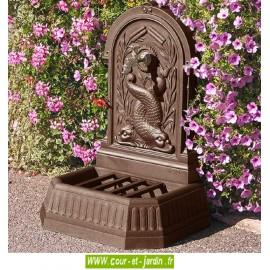 Fontaine exterieure Dauphins en fonte  coloris brun antique, ht 87cm - Robinet laiton colvert pour fontaine