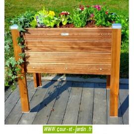 Bac à fleurs bois BP90x50. Ces bacs à jardiner sur pieds ou jardinières en bois traité sont de fabrication artisanale