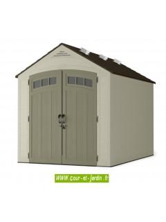 Cabane de jardin en PVC. Cet abri de jardin en PVC ou en résine soufflée est une cabane à outils de jardin ou un abri 2 roues.