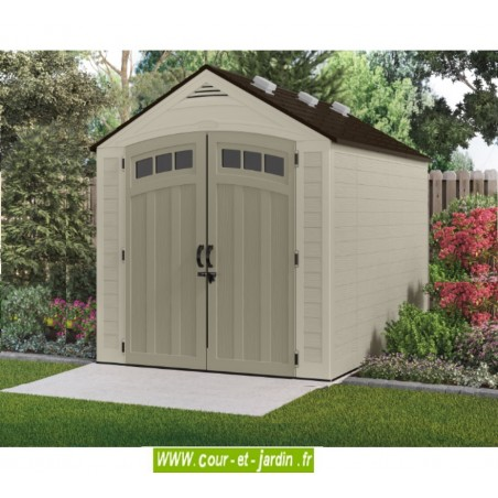 Abri de jardin Suncast. Cet abri de jardin résine ou abri PVC a un plancher.