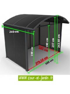 Dimensions de cet abri à vélo ou auvent de terrasse AAL30243C. Abri métal et polycarbonate