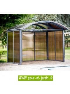 Abri aluminium et polycarbonate fermé sur 3 côtés seulement. Abri métallique pour rangement de jardin.