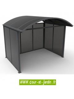 Abri jardin aluminium ou abri vélo fermé sur 3 côtés en polycarbonate.