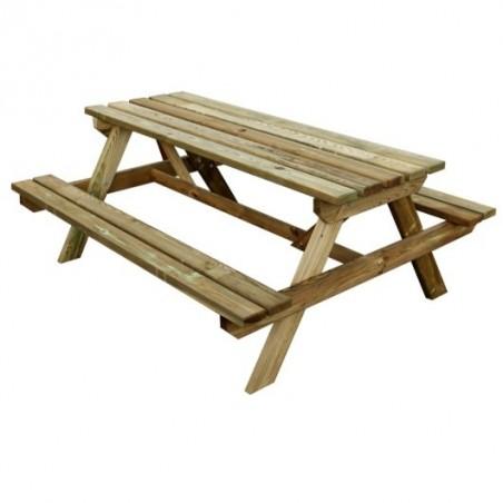 Table pique nique bois de 1m70 de long pour 6 personnes. Table forestiere de Jardipolys.