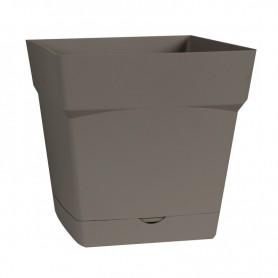 Pot carré soucoupe intégrée- H. 24 cm