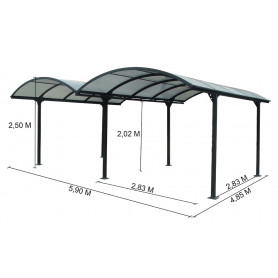 Carport alu car6048ALRP, carport 2 voitures toit polycarbonate . carport aluminium 2 voitures