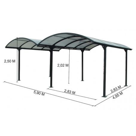 Carport alu car6048ALRP, carport 2 voitures toit polycarbonate . carport aluminium 2 voitures