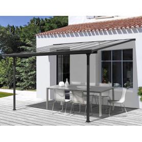 Toit Terrasse aluminium TT 3030 AL Habrita de 3,07mx3m gris. Pergola terrasse