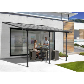 Toit Terrasse alu TT 3042 AL . Cet abri de terrasse alu ou pergola en aluminium de Foresta fait 3,07m x 4,18m gris (12,83m²)
