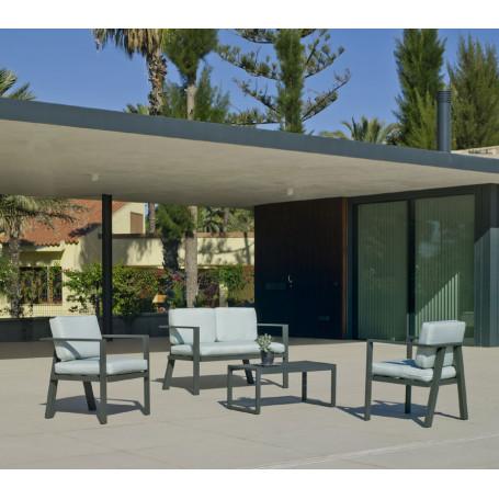 Salon de Jardin Awena - Aluminium Gris - MOBILIER DE JARDIN - Cour...