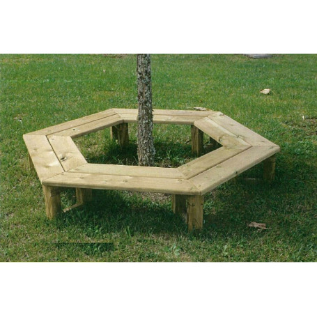 Banc tour d\'arbre, bois, Banc de jardin, hexagonal, banc circulaire