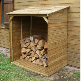 Abri bûches grand modèle avec plancher. Cet abri-bûches de Cihb ou range bûches, est en bois traité
