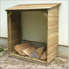 Abri bûches petit modèle avec plancher de Cihb. Range bois