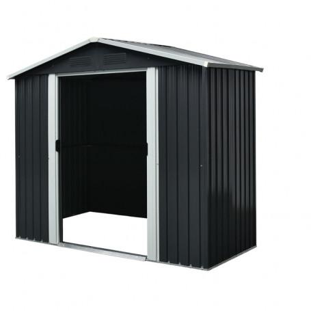 Abri de jardin métal 2,54 m² gris anthracite