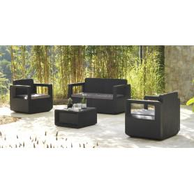 Salon de Jardin VENUS confort 4 P - Résine Tressée GRAPHITE