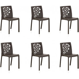 Lot de 6 chaises COCKTAIL - Anthracite-