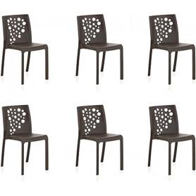 Lot de 6 chaises COCKTAIL - Anthracite-
