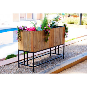 Jardinière cache 3 pots en bois recyclé