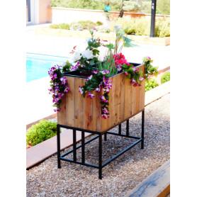 Jardinière cache 2 pot en bois recyclé