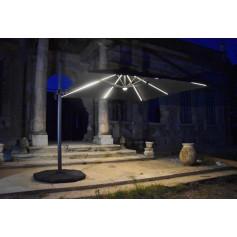 Parasol déporté bandeau LED solaire CAPEO- Taupe